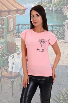 Персиковая футболка из хлопка  Натали