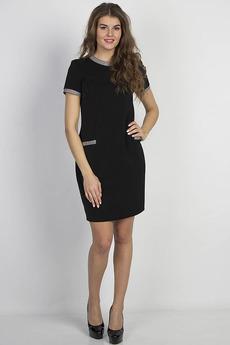 Черное платье с короткими рукавами Bast со скидкой